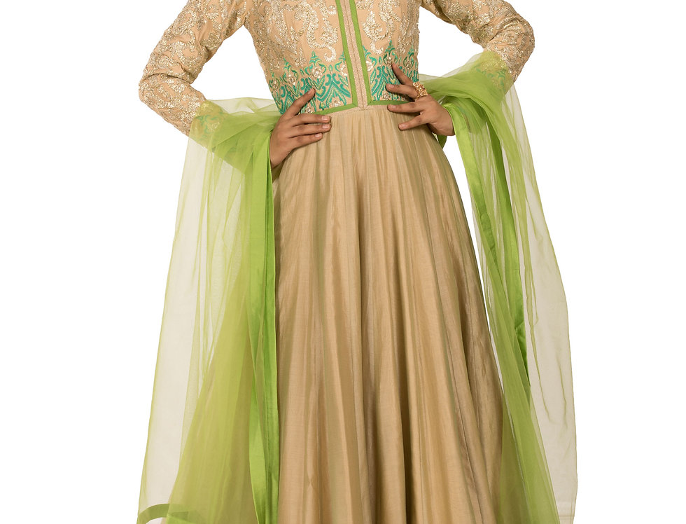 Ivory Base Anarkali Suit & Parrot Green Dupatta (Code: 2327818)