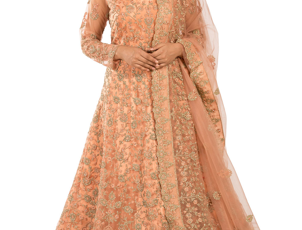 Peach Anarkali Suit with Heavy Embroidery Work & Dupatta (Style Code: 2389634)