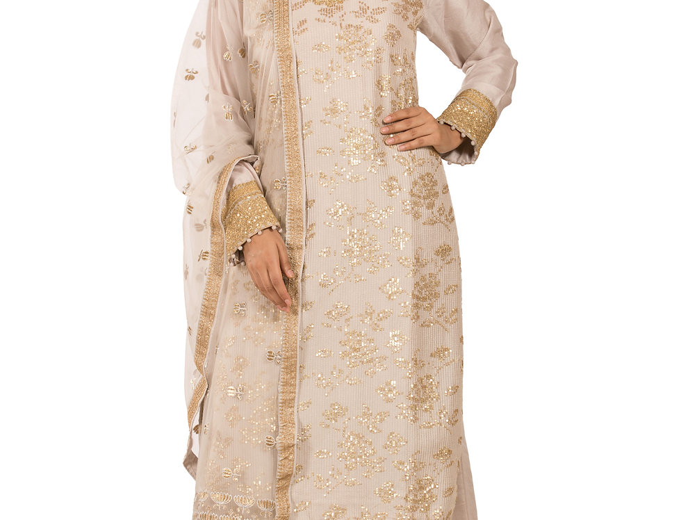 Light Mauve Readymade Silk Suit with Sharara & Dupatta (Style Code: 2349539)
