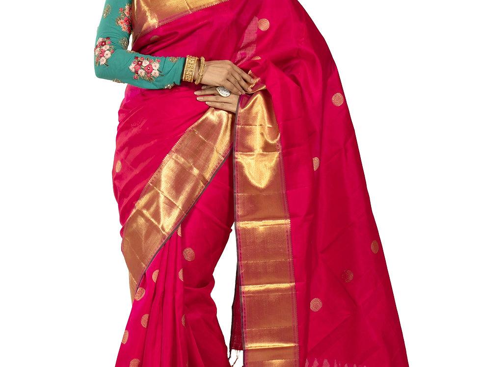 Magenta Pure Silk Designer Saree with Zari Work & Blouse (Style Code: 2263264)