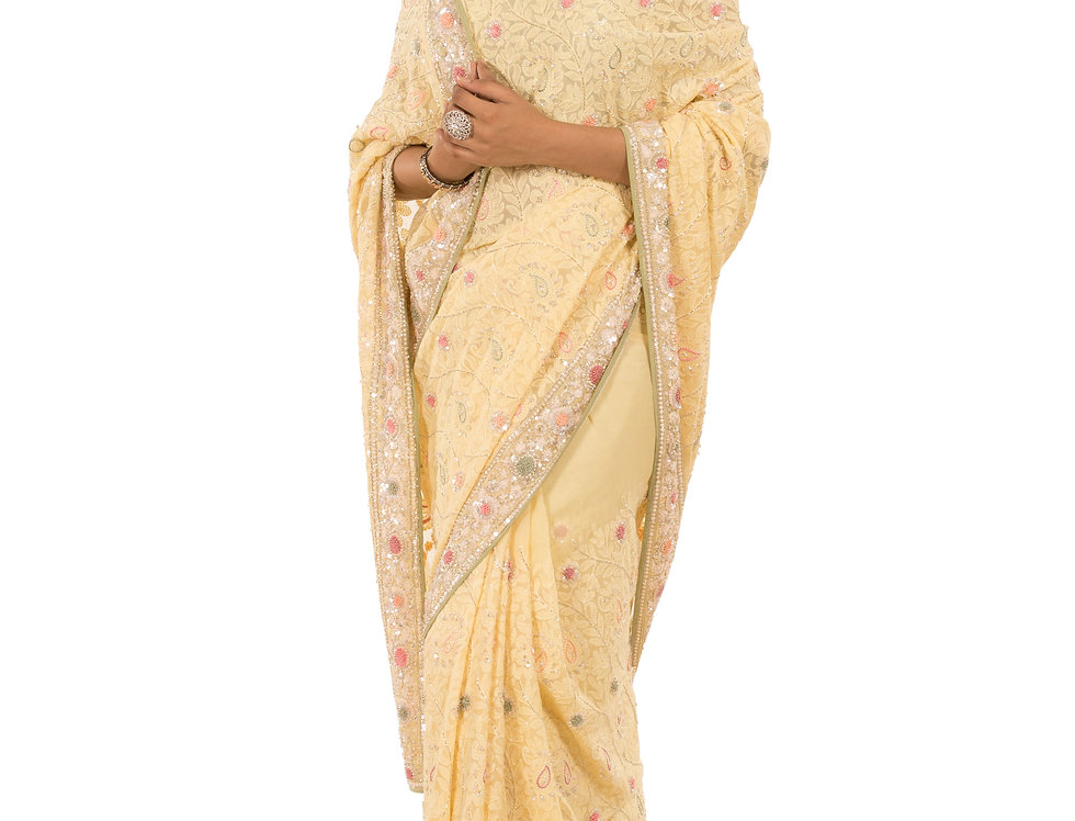 Lemon Base Georgette Saree with Lucknowi Work & Blouse (Style Code: 2374207)