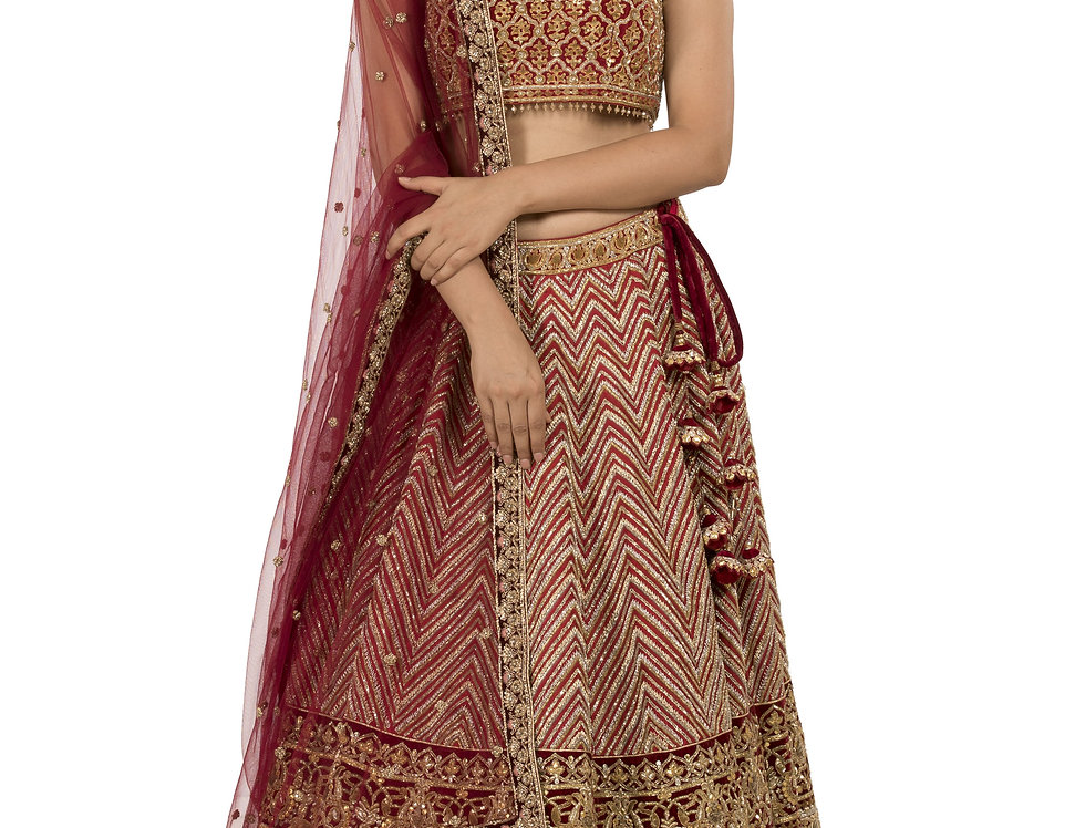 Red Base Silk Zardozi Work Lehenga with Dupatta (Style Code: 2386048)