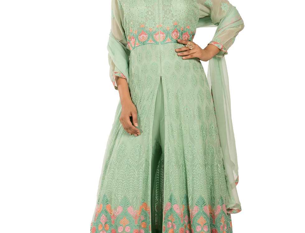 Pista Green Base Designer Suit with Sharara & Dupatta (Style Code: 2345721)