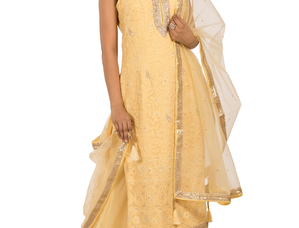 Light Yellow Readymade Georgette Suit, Sharara & Dupatta (Style Code: 2363938)