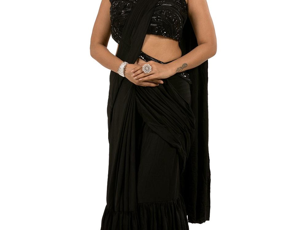 Black Base Lycra Designer Stitch Draped Saree with Blouse (Style Code: 2362846)