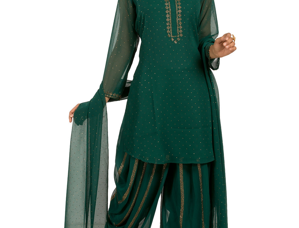 Bottle Green Georgette Readymade Suit with Dhoti & Dupatta (Style Code: 2349493)