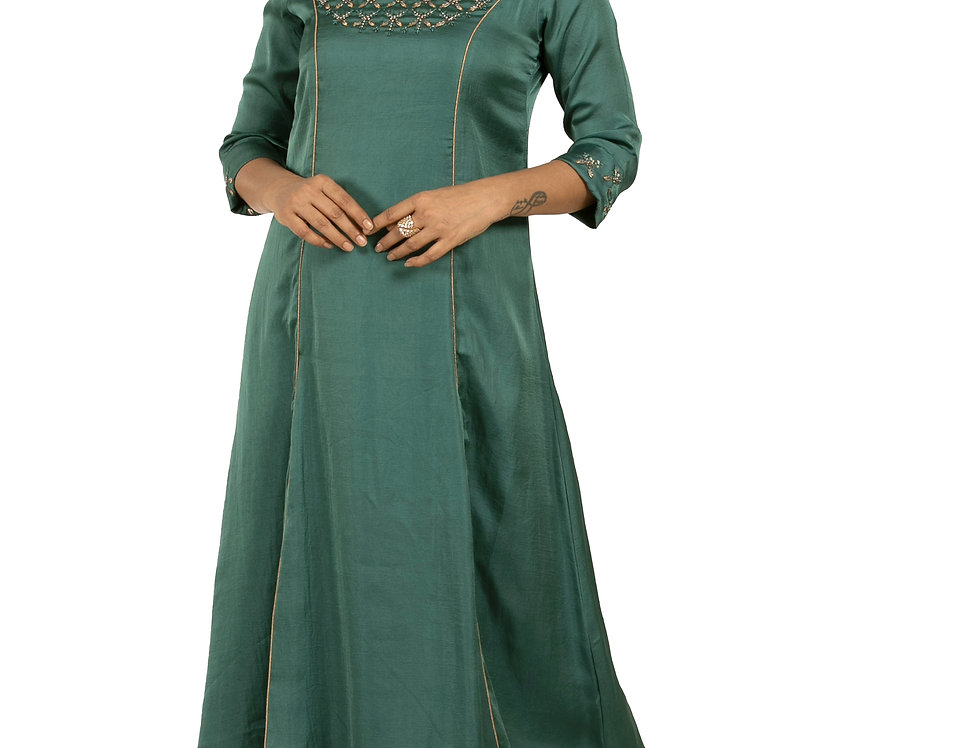 Green Base Crepe Indo-Western Kurti with Embroidery Work (Style Code: 2383589)