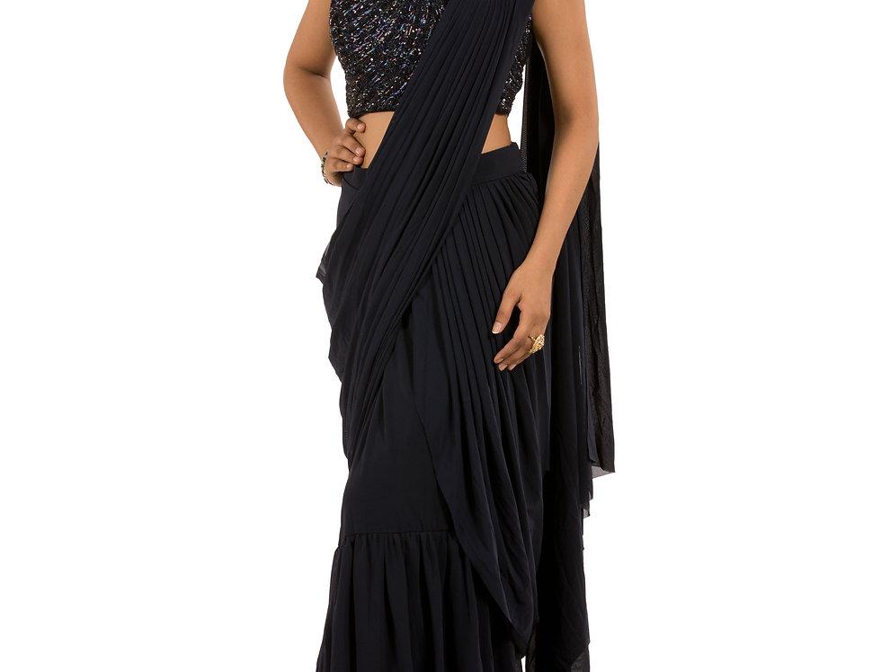 Navy Blue Lycra Designer Stitch Draped Saree with Blouse ( Style Code: 2390799)