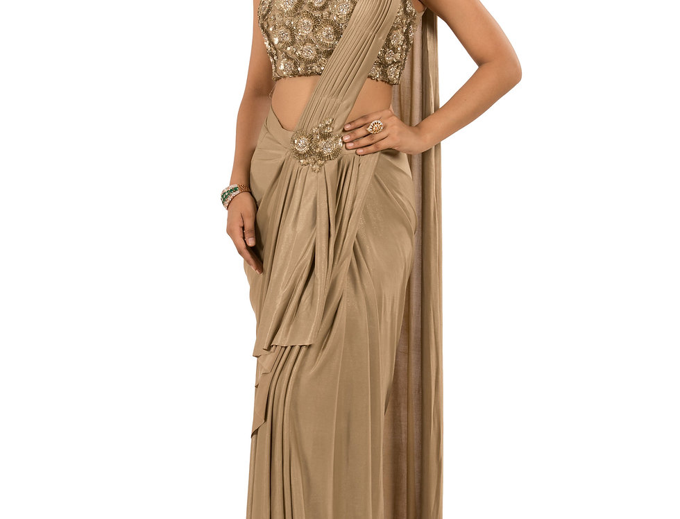 Beige Base Lycra Designer Stitch Draped Saree with Blouse (Style Code: 2362841)