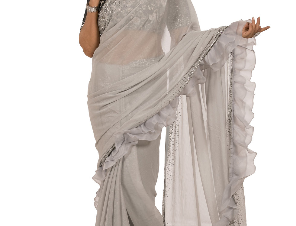 Grey Base Wrinkle Georgette Designer Saree with Blouse (Style Code: 2349527)