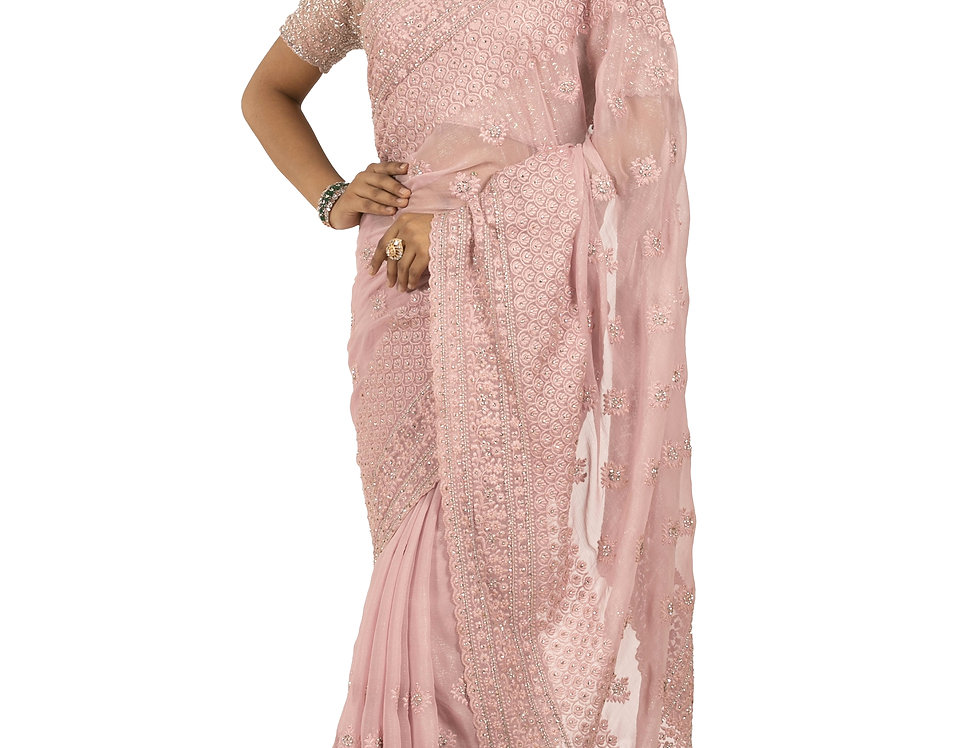 Pink Georgette Designer Saree with Chikan Work & Blouse (Style Code: 2353307)