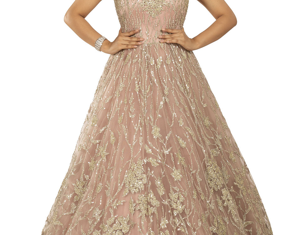 Rose Pink Party Wear Gown with Light Gold Zari Work (Style Code: 2371928)