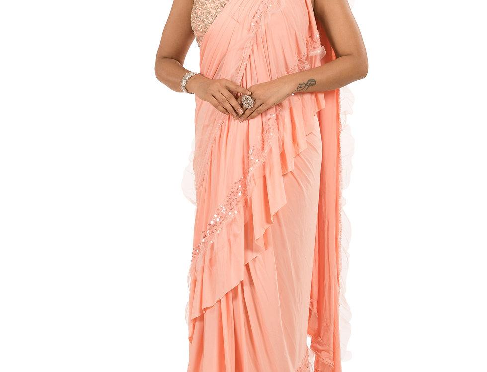 Peach Base Lycra Designer Stitch Draped Saree with Blouse (Style Code: 2374564)