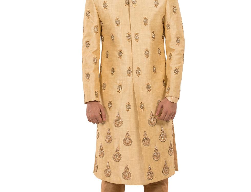 Gold Base Dupion Sherwani with Embroidery & Churidar (Style Code: 2348161)