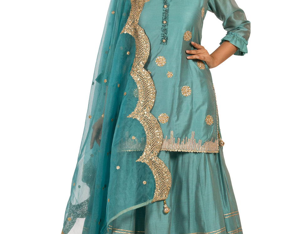 Greyish Blue Base Maheshwari Silk Kurti with Skirt (Style Code: 2388436)