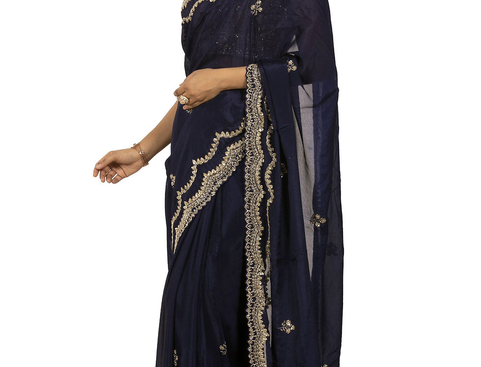 Navy Blue Base Georgette Designer Saree with Blouse (Style Code:2381432)