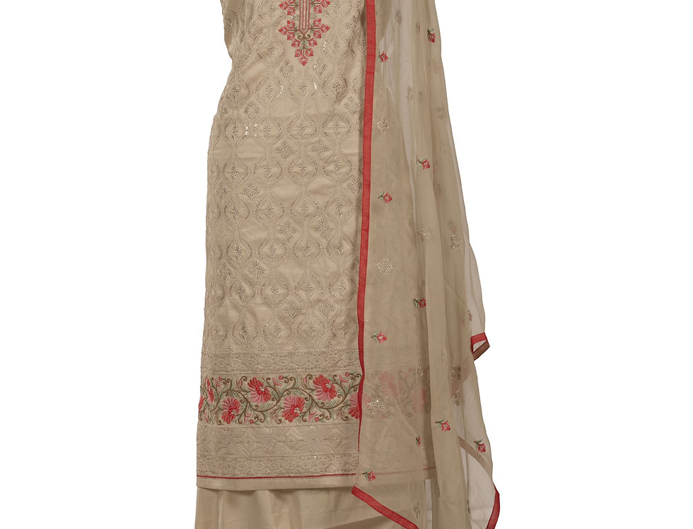 Beige Base Cotton Unstitched Suit Salwar & Dupatta (Style Code: 2389697)