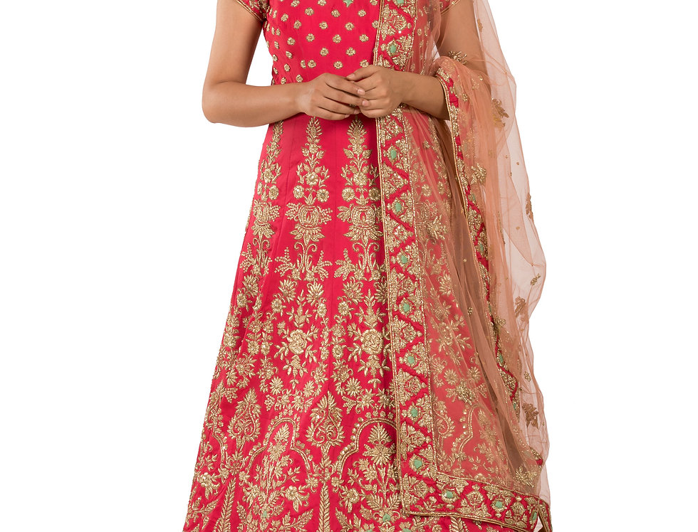 Coral Base Dupion Silk Anarkali with Embroidery & Dupatta (Style Code: 2289014)