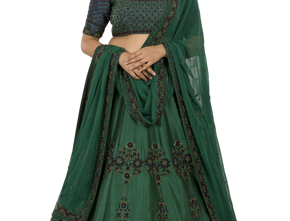 Green Base Silk Lehenga Set with Chiffon Dupatta (Style Code: 2386042)