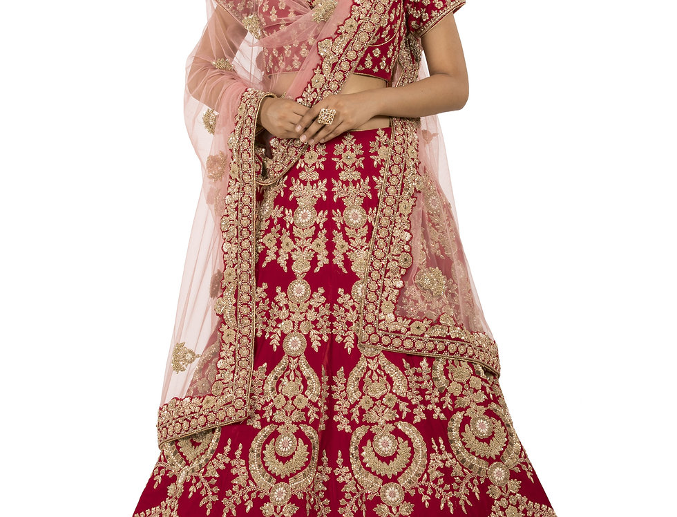Red Velvet Lehenga with Zari & French Knot with Dupatta (Style Code: 2276320)