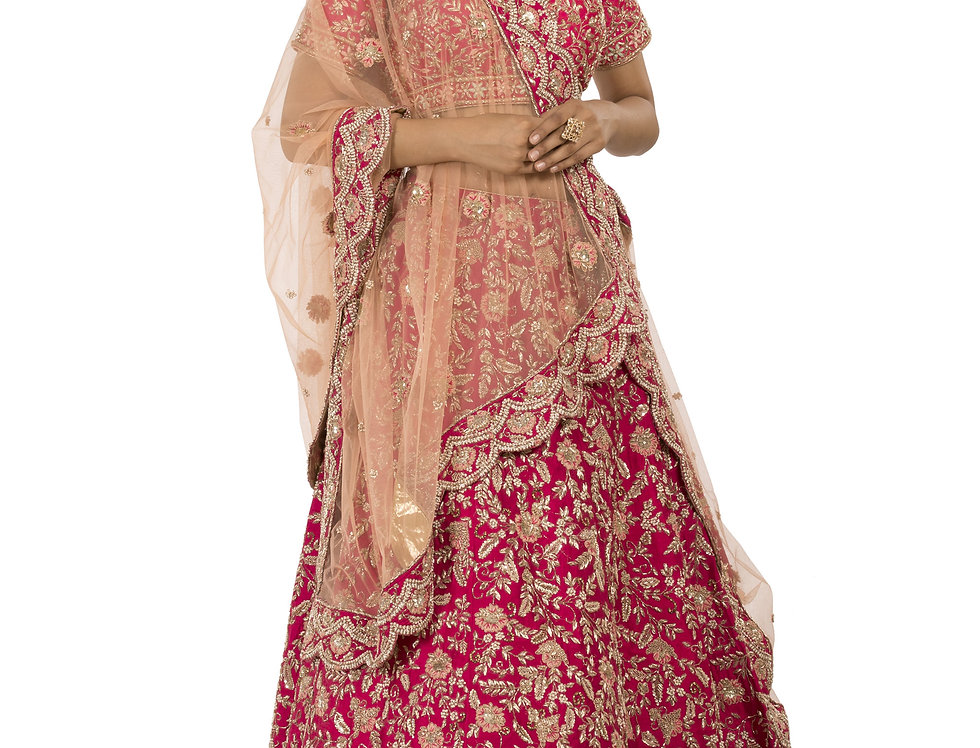 Coral Pink Silk Zardozi Work Lehenga with Peach Dupatta (Style Code: 2380823)