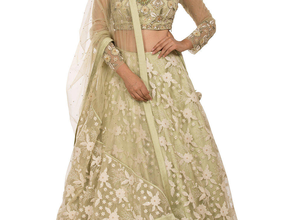Pista Green Party Wear Lehenga Lucknowi Embroidery Work (Style Code: 2329109)
