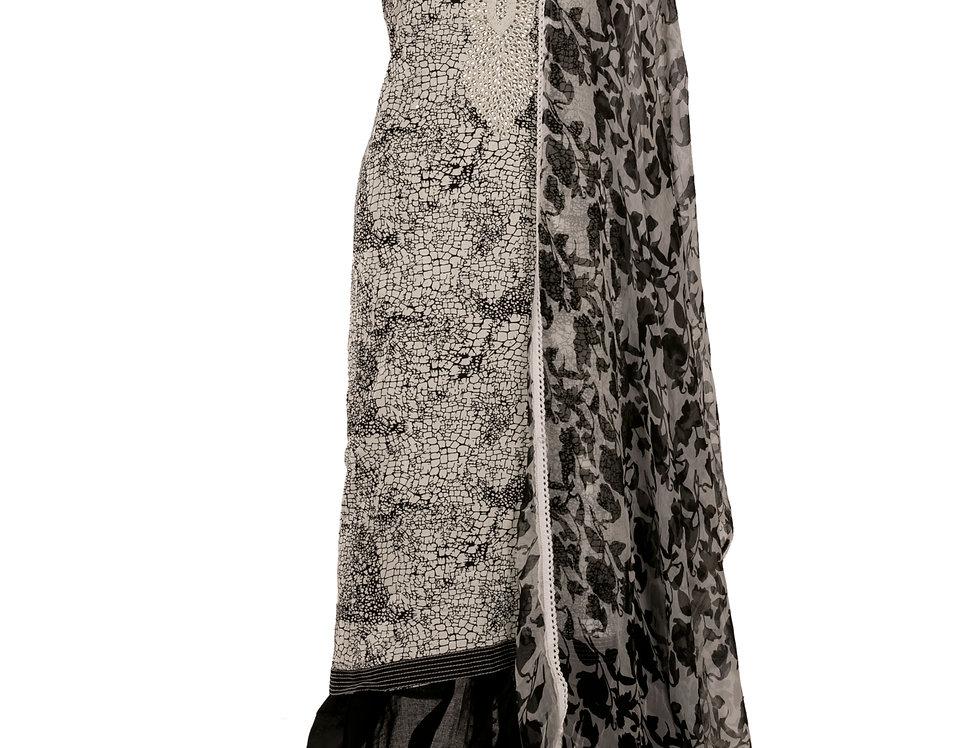 White & Black Cotton Unstitched Suit Salwar & Dupatta (Style Code: 2383433)