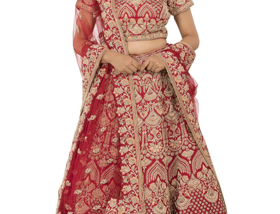 Red Silk Bridal Zardozi Work Lehenga with Dupatta (Style Code: 2373601)