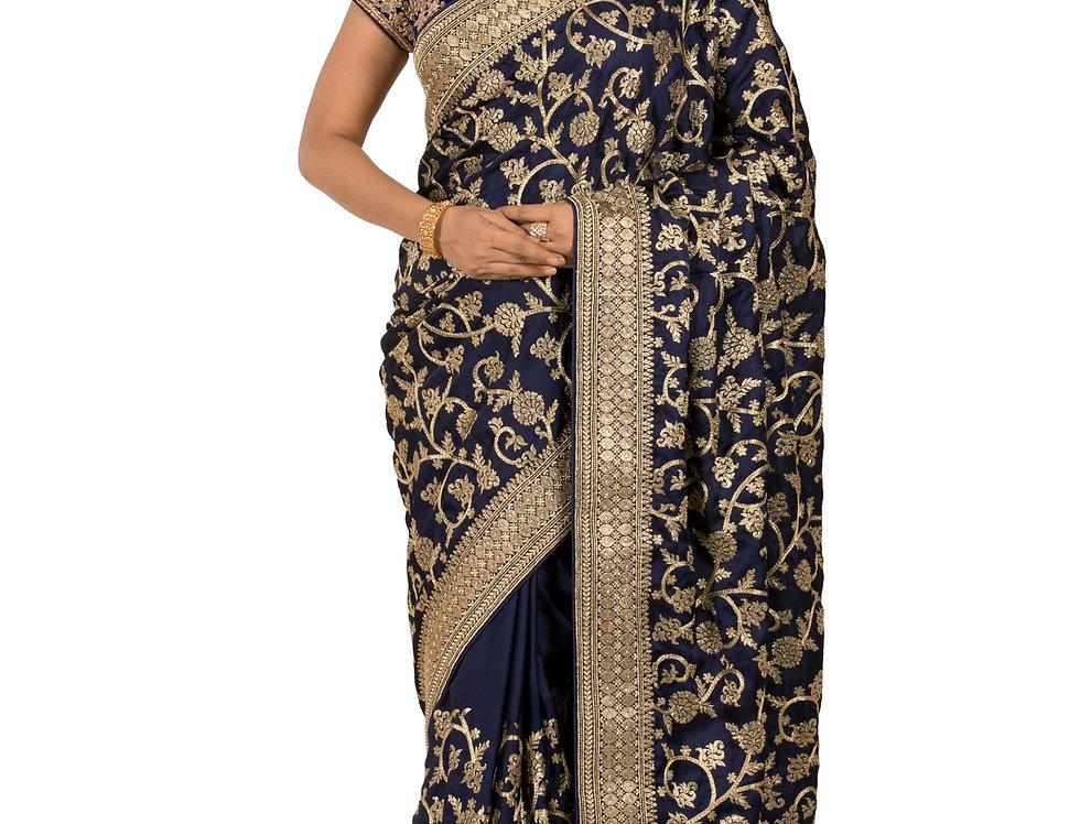Navy Blue Crepe Designer Saree with Zari Work & Blouse (Style Code: 2324024)