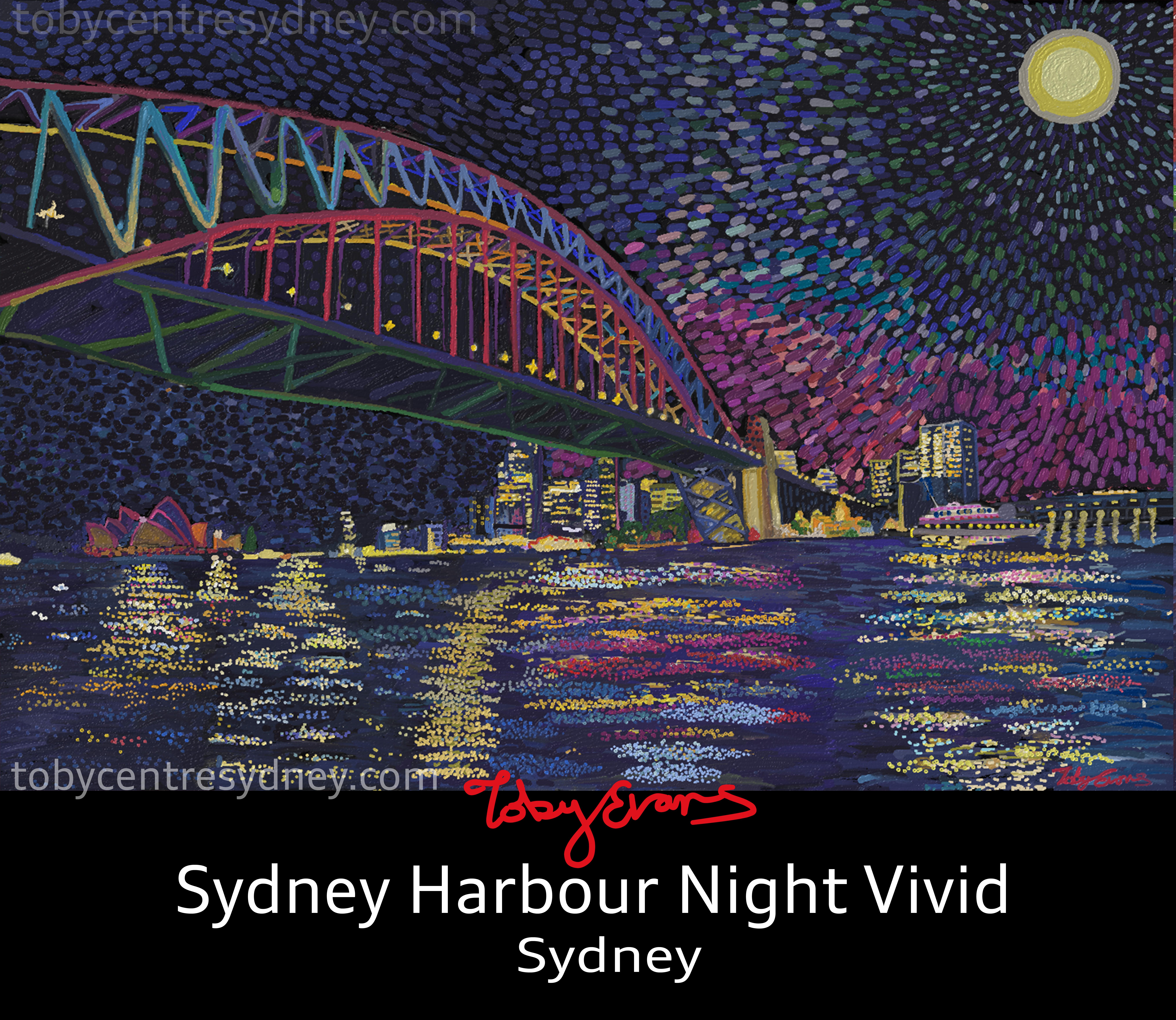 Sydney harbour night vivid