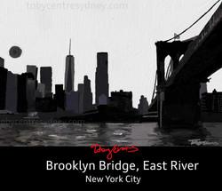 New York City Brooklyn Bridge B&W