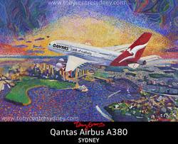 Qantas Airbus A380 Jet over Sydney
