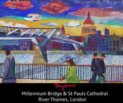 London Millennium  Bridge + Thames