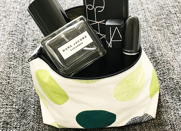 Green polka dot Make up/ Wash bag