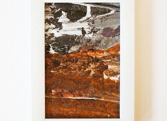 Copper and sand mono print