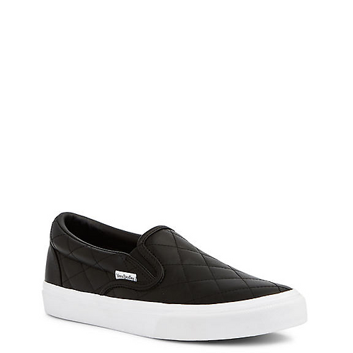 Quilted Slip-On Shoes in Black