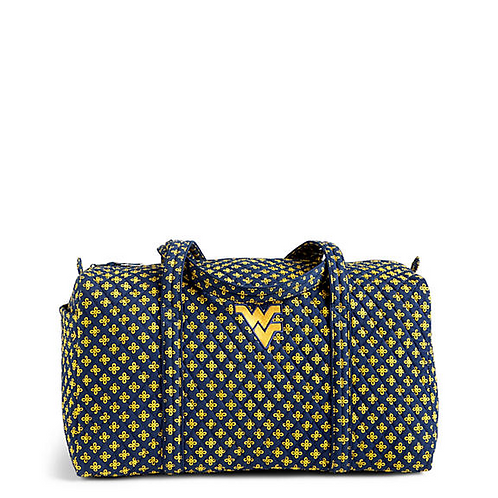 Large Duffel Travel Bag in Navy/Var. Gold Mini Concerto with West Virginia Logo
