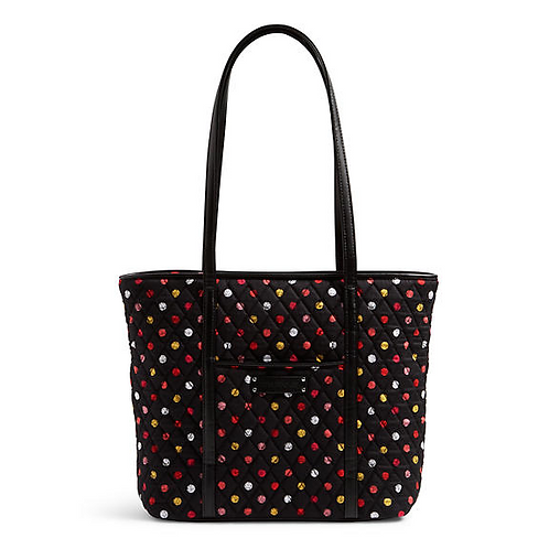 Small Trimmed Vera Tote in Havana Dots with Black