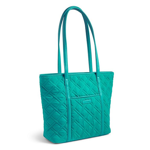 Small Trimmed Vera Tote in Vera Vera Turquoise Sea with Turquoise