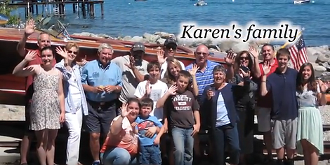 Karen Calcagno & Clare Laughlin in family picture with big smiles all around