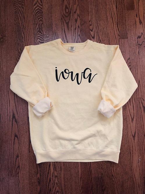 Butter Yellow Iowa Sweatshirt
