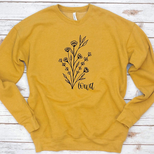 Iowa Flowers Crewneck (Mustard)