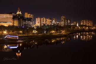 City of Saskatoon at night from Broadway Bridge