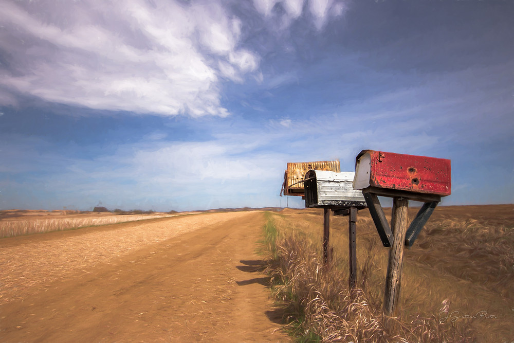 Old mailboxes on an old country road