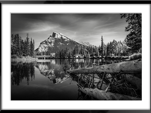 Mountain Reflection in the Bow River in Banff, AB in B&W