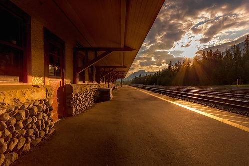 Banff Train Station under the setting autumn sun