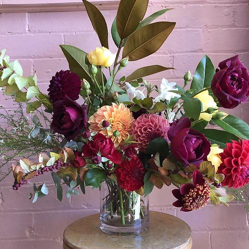 Vase Arrangement with Seasonal Flowers