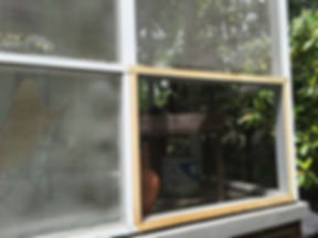 Sagging Screens Compared to Newly Rescreened Porch Screen Section