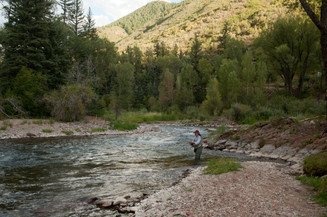 Woman fishes on a Colorado River
