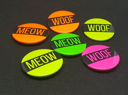 Neon UV WOOF & MEOW Pin Badges